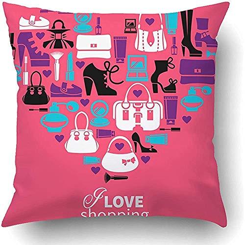Throw Pillow Covers Make-up Shopping Liebe Herz Frauen 'S Zubehör Silhouette Pinsel Grafik Pflege Parfüm Kissenbezug