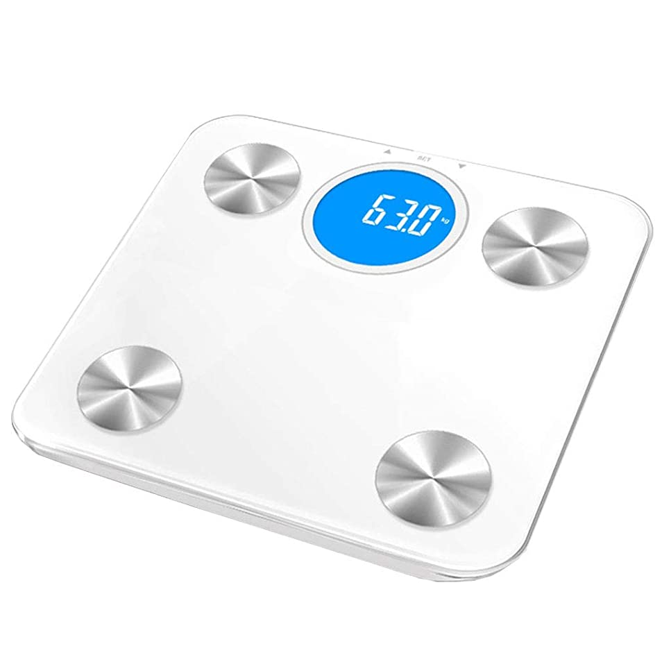 アレキサンダーグラハムベル悪質な深さ体重計 電子スケール高精度デジタルアンチスキッドバスルームスケール成人の健康体重脂肪体重計丸型バックライトディスプレイ180kg容量