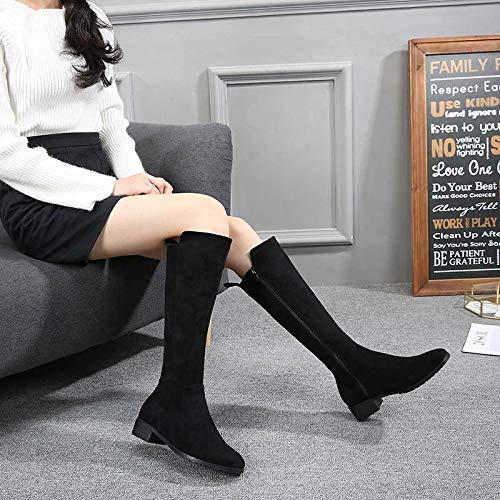 Shukun enkellaarsjes herfst en winter platte knielaarzen klein formaat hoge laarzen lange laarzen grote maten dames laarzen
