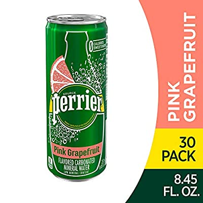 Perrier Pink Grapefruit Flavored Carbonated Mineral Water, 8.45 Fl Oz (30 Pack) Slim Cans