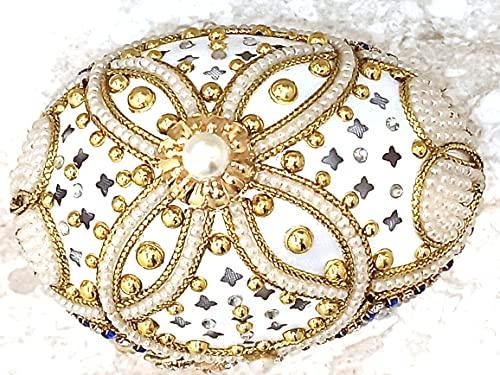 Fabrege Egg - Caja de regalo con diseño de flores de oro de 24 quilates, diseño de flores de Faberge, interior con forro de seda + juego de joyas de perlas para boda, collar de perlas y pulsera