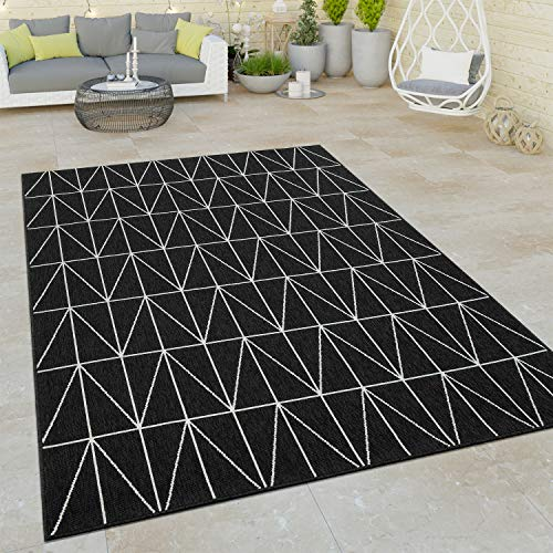 Paco Home Tappeto a Pelo Corto per Interni ed Esterni con Design scandinavo nel Motivo Geometrico 3D in Nero, Dimensione:160x230 cm