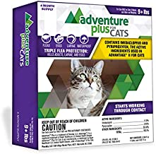 Adventure Plus Triple Flea Protection for Cats, 9 lbs and Over, Cat Flea Treatment (4 Dose)