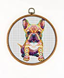 Mandala French Bulldog K548 Counted Cross Stitch KIT#2. Threads, Needles, Fabric and 4 Printed Color Schemes Inside. Embroidery Pattern Kit