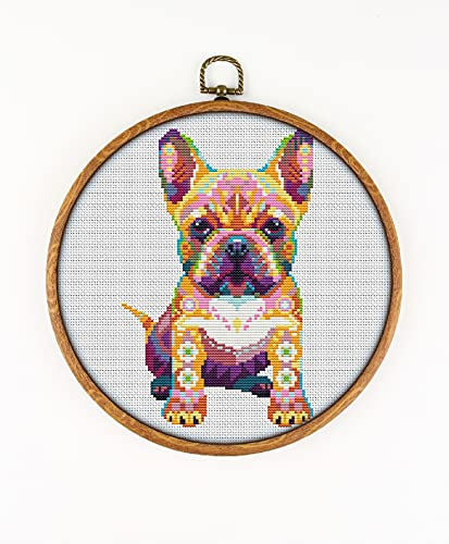 Mandala French Bulldog K548 Counted Cross Stitch KIT#2. Threads, Needles, Fabrick and 4 Printed Color Schemes Inside. Embroidery Pattern Kit