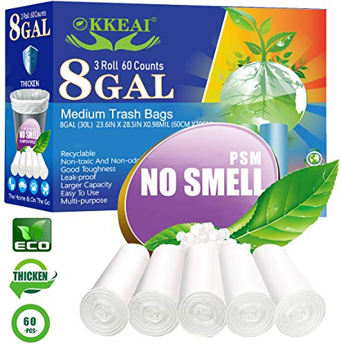 OKKEAI Medium Trash Bags Biodegradable Garbage Bags 8 Gallon White Thicker 0.98 MIL Kitchen Trash Bags Wastebasket Liners for Bathroom,Home Office, Lawn,60 Count,Clear (Fits 7-10 Gallon Bins)