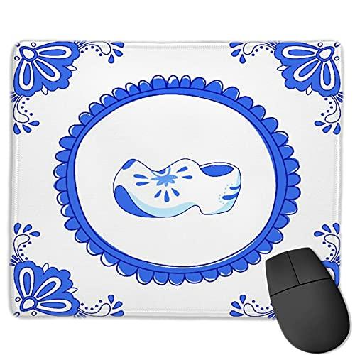 Benutzerdefinierte Office-Mauspad,Blaue Fliese mit einem Paar typischer holländ,Anti-Rutsch-Gummibasis Gaming Mouse Pad Mat Desk Decor 9.8