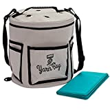 Portable Yarn Storage Bag with Dividers (Grey, 11.8 x 9.8 Inches)