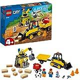 LEGO City Great Vehicles - Buldócer de Construcción, set de Construcción, Incluye Grúa de Juguete con Bola de Demolición, Hormigonera y 2 Minifiguras, a Partir de 4 Años (60252)