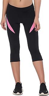 Santic Women's Cycling Shorts Bike Pants Padded 3/4 Tights Breathable Bicycle Capris XL Black/Pink