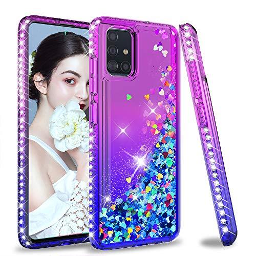 LeYi für Samsung Galaxy A71 Hülle Glitzer Handyhülle, Diamond Cover Bumper Schutzhülle für Case Samsung Galaxy A71 Handy Hüllen ZX Lila Blau