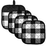 Pot Holders Buffalo Plaid Cotton Heat Resistant Potholder, Pot Holder, Hot Pads, Trivet for Cooking and Baking