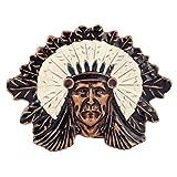 Native American Indian Chief Head Metal Belt Buckle Replica