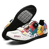 Qisheng Trade Mujeres SPD Racing Trek Calzado de Bicicleta Hombre Montaña Bicicleta de Estilo Libre Hombres Ciclismo Zapatillas MTB Zapatos Planos Zapatos Especializados Carretera,A-45