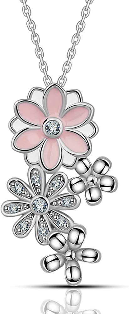 925 Sterling Silver Pink Cherry Necklaces Flower Pendant Wom For Shipping included Sale special price