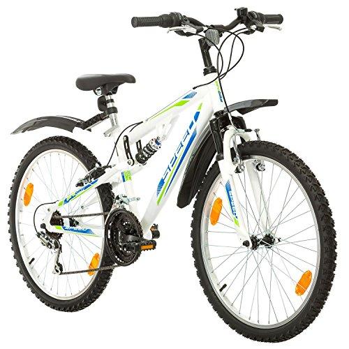 Multibrand, PROBIKE SPEED 24, 24 pollici, 330mm, FSP Mountain Bike, 18 velocità, Unisex, Nero (Bianco, 24 pollici)