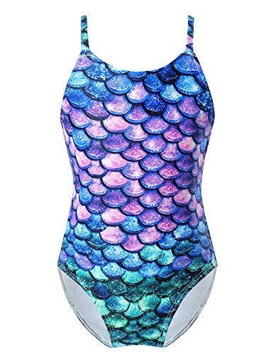 TiaoBug Mädchen Meerjungfrau Badeanzug Bikini Schwimmanzug EIN-Schulter mit Rüschen Kinder Bademode Beachwear 80 92 98 104 110 116 122 128 Blau&Lila 170-176
