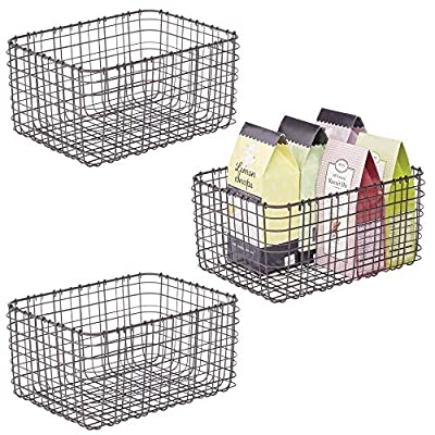 mDesign Metal Wire Food Organizer Storage Bins, 3 Pack from