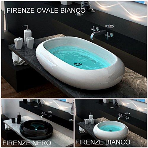 Lavabo da appoggio bagno ceramica circolare o ovale bianco design moderno I