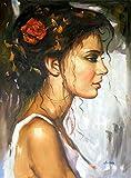 AQjept DIY Pintar por números Retrato Mujer Kits de Pintura por números con Pinceles y Pigmento acrílico Pintura de Bricolaje en Lienzo para Adultos Principiantes