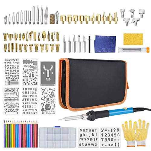 128Pcs Wood Burning Kit, Professional Woodburning Tool with Soldering Iron, Creative Tool Set Adjustable Temperature Soldering Pyrography Pen for Embossing Carving Soldering Tips