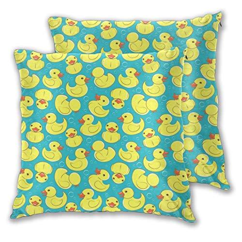 AEMAPE Quadratische Kissenbezüge, gelbe Ente 2er Pack dekorative Kissenbezüge Kissenbezüge für Sofa Schlafzimmer Auto 40X40 cm