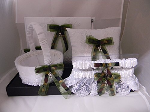 Wedding Reception Camo deer hunter 6 psc Guest Book Pillow Basket (2) Garters