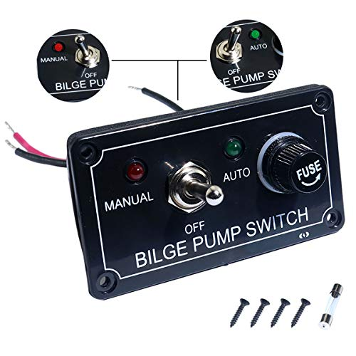 Boeray Rocker Toggle Switch Panel and Fuse Bilge Pump Switch DC 12V 24V Max 15A SPST ON/Off Marine Switch Panel (1 Toggle)