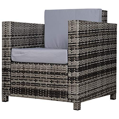 Outsunny 1 Seater Rattan Garden All-Weather Wicker Weave Single Sofa Armchair with Fire Resistant Cushion - Grey