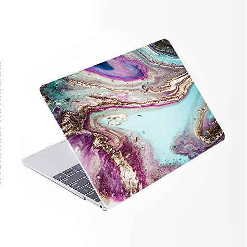 SDH Newest for MacBook Pro 13 inch Case 2020 Release Touch Bar & ID Model: A2289 / A2251 / A2338, Plastic Pattern Hard Shell & Laptop Sleeve Bag & Keyboard Cover Skin 4 in 1 Bundle, Marble Figure 8