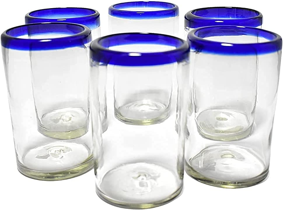 Handblown drinking 大決算セール glasses artisan crafted 6 Mexico Set from 豪華な of