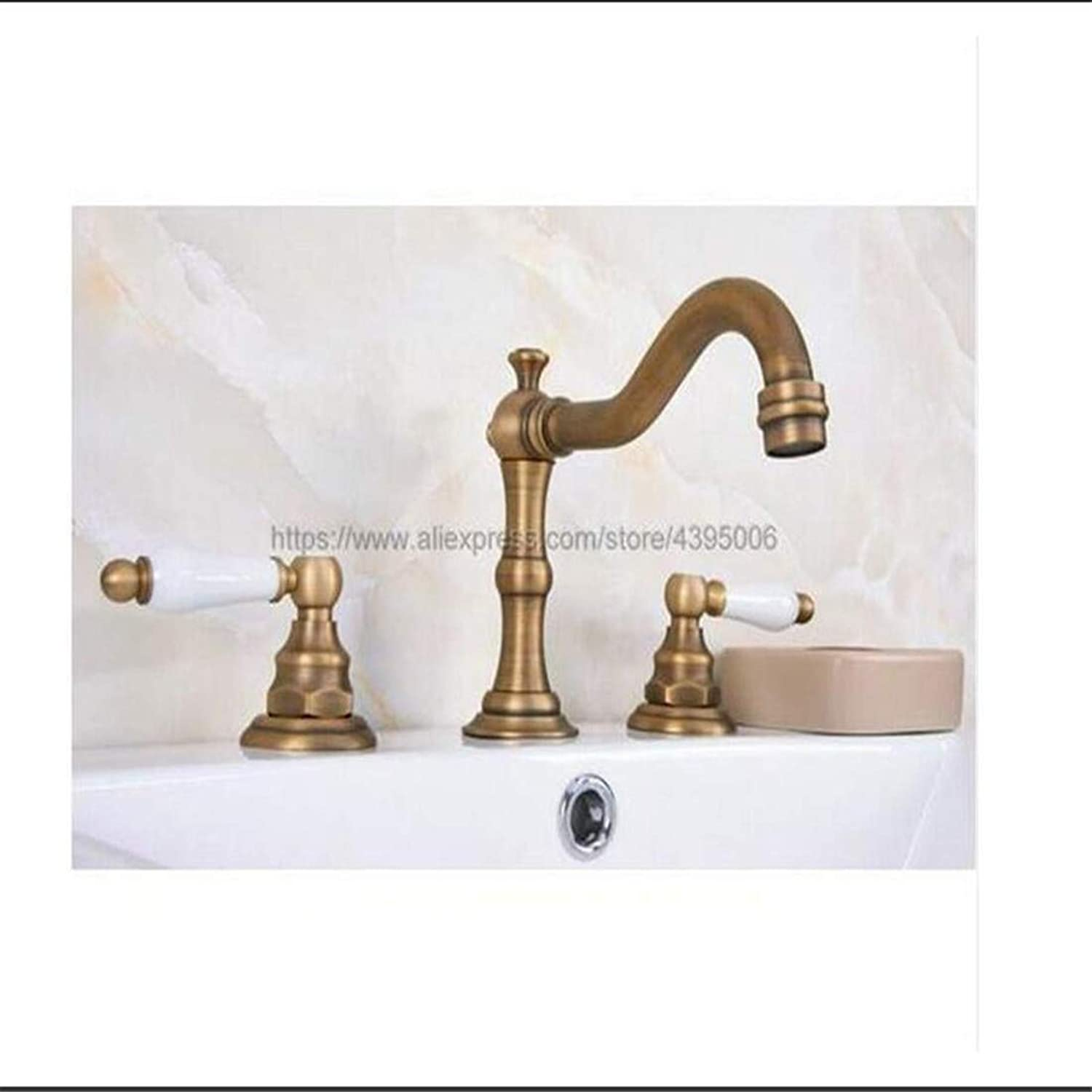Vintage Brass Hot and Cold Water Mixer Taps Dual Handles Deck Mounted 3 Holes Basin Sink Faucet