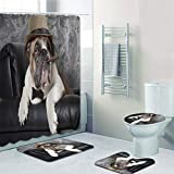 PFLMFCC Duschvorhang Duschvorhang Lustige Englische Bulldogge Badezimmer Vorhang Set Rauchen Bull Dog mit Zigarre Bad Teppich Teppichmatte für Toilette Haustier Geschenk