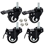 DICASAL 4 Pack 1.5 Inch Swivel Stem Casters, Non-Marking Polyurethane Wheels 330 Lbs with Diameter 3/8'- 16 x 1' Stem Thread and Nuts for Carts Trolley Furniture