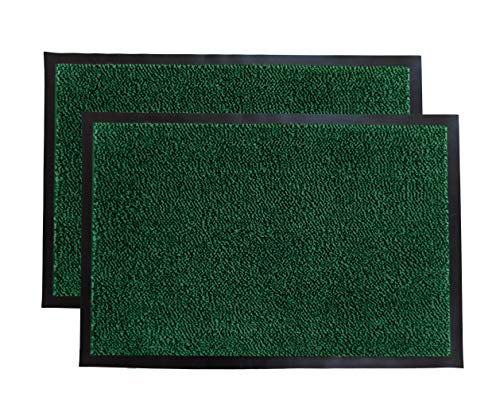 LuxUrux Durable Rubber Door Mat, Heavy Duty Doormat, Indoor Outdoor Rug, Easy Clean, Waterproof, Low-Profile Door Rugs for Entry, Patio, Garage, High Traffic Entrance Ways (16''x 24'' 2 Pack, Green)