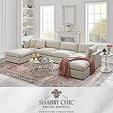 Shabby Chic Linen U Shape Chaise Sectional Sofa Cream White | Monette | Upholstered | 4 Seats Sofa and 2 Ottoman