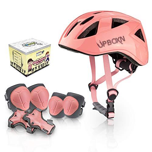 UPBOXN キッズプロテクター 子供用 ヘルメット 肘パッド 膝パッド 腕パッド 7点1セット 4色 頭/手首/ひじ/ひざサポーター スケートボード、自転車、ローラースケートなどスポーツプロテクターセット 収納袋付き「ピンク」