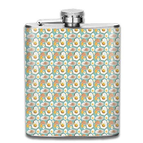 Petaca de acero inoxidable 304 para freír huevos escalfados, a prueba de fugas, para licor y alcohol, 7 onzas, caja de regalo
