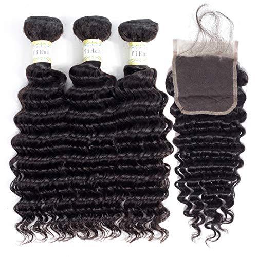 YiHan Brazilian Deep Wave Virgin Hair 3 Bundles With Closure Wet And Wavy Human Hair Weave Bundles With 4x4 Free Part Lace Closure With Baby Hair Bleach Knots Natural Black Color 12 14 16+10 inches