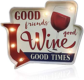 Coffee Shop Wall DecorationLuminous Signs,Using Retro-Painted Industrial Metal Technology Deliberately Faded and Worn Used in Bars Home,Apartment,Kitchens etc–Battery Operated  Wine