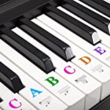 Kids Piano Keyboard Stickers for 88/61/54/49/37 Transparent Key Large Bold Letter Removable Piano Stickers Perfect for Beginner Learning Piano
