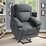 Electric Power Lift Recliner Chair for Elderly with Massage and Heat, Linen Fabric Motorized Recliner Sofa for Living Room with Massage Remote Control, 3 Positions, USB Port and 2 Side Pockets (Grey)