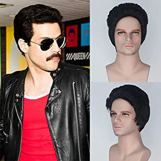 IVY HAIR The Movie Bohemian Rhapsody Freddy Mercury Cosplay Wigs Men's Wig Black Natural Looking Short Wigs for Men Daily Halloween Party Costume Use