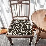Cojín de asiento de espuma viscoelástica, patrón beige sin costuras de espirales y rizos, tela duradera, cojín cuadrado universal, cubierta de silla para decoración del hogar