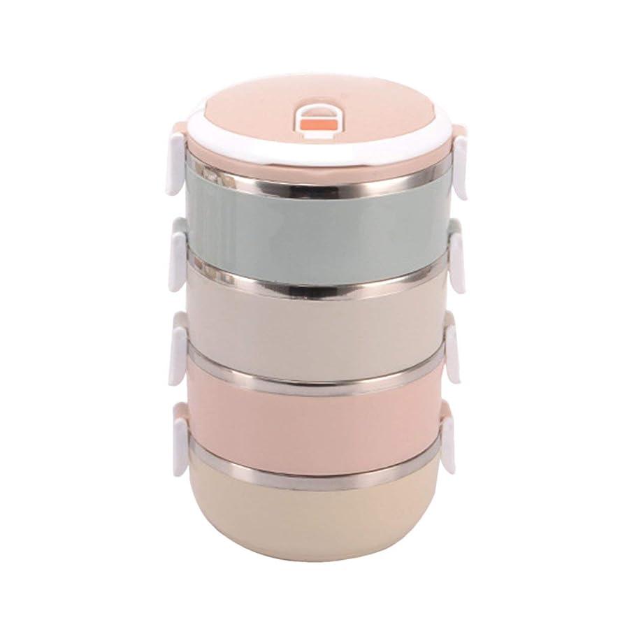 透ける危険にさらされている船形Saikogoods スタイリッシュなポータブル大容量ステンレスランチボックス食品容器キッズ大人のピクニック単一のマルチレイヤーボックス マルチカラー