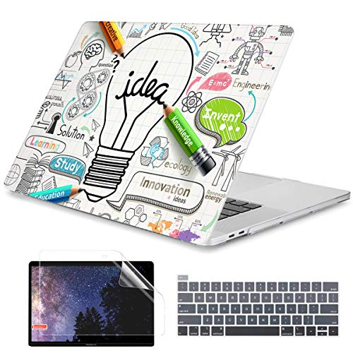 Dongke MacBook Pro 13 inch Case 2020 Released A2338 M1/A2251/A2289, Plastic Hard Shell Case Cover with Keyboard Cover for MacBook Pro 13 inch Retina Display & Touch Bar Fits Touch ID, Creative Idea