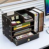 EVFIT Office Desktop Organizer Escritorio Estantería Mostrador Librero Escritorio almacenaje de los Efectos Organizador Estante de exhibición del Estante (Color : Black, Size : 48x23x28cm)