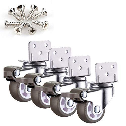 Rollen (4er Pack) 1,5 Zoll L-förmigen rechtwinkligen Blumenständer mit Bremse 2 Zoll Baby Kinderbett Roller Möbel Möbel geräuschlos glatt gleiten