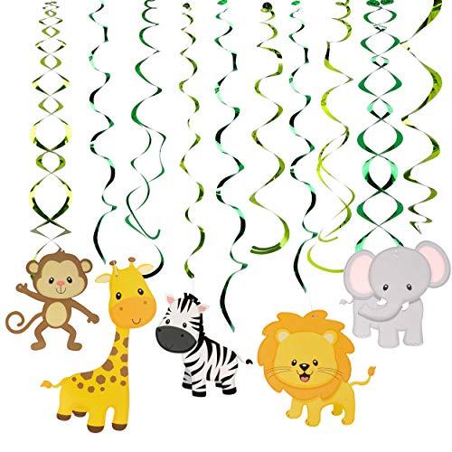 Decoraciones de Remolinos 30 Piezas Salvaje Selva Animal Adornos de Espirales Colgar para Infantiles Niños Fiestas de Cumpleaños Suministros Decoración
