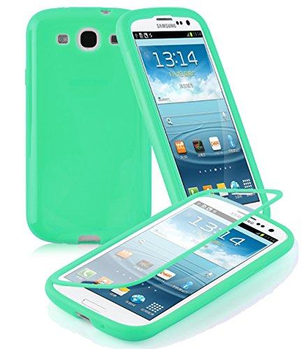 Cadorabo Custodia per Samsung Galaxy S3 / S3 NEO Custodia Silicone TPU FULL BODY in VERT – Morbida Cover Protettiva Super Sottile con Bordo Protezione – Back Case Ultra Slim Gel Bumper Fina Antiurto Guscio Originale